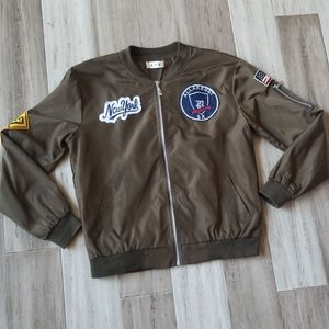 NY Patchwork Zip Down Army Green Bomber Jacket